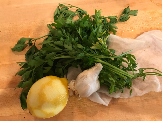 Zested Lemon, Italian Parsley and Garlic